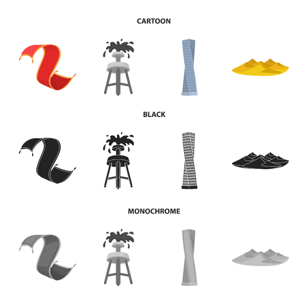 Persian carpet, dunes in the desert, Shanghai Tower, oil well. Arab emirates set collection icons in cartoon black monochrome style vector symbol stock illustration