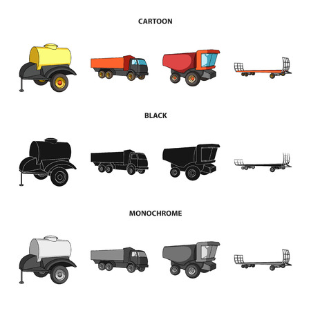 Trailer with a barrel, truck and other agricultural devices. Agricultural machinery set collection icons in cartoon,black,monochrome style vector symbol stock illustration web.
