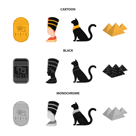 Eye of Horus, black Egyptian cat, pyramids, head of Nefertiti.Ancient Egypt set collection icons in cartoon,black,monochrome style vector symbol stock illustration web.