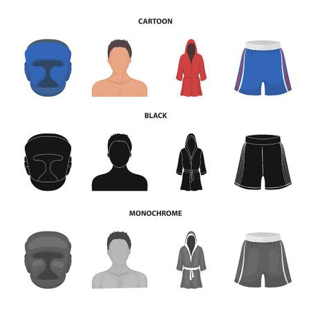Boxing, sport, mask, helmet.Boxing set collection icons in cartoon,black,monochrome style vector symbol stock illustration web. Çizim