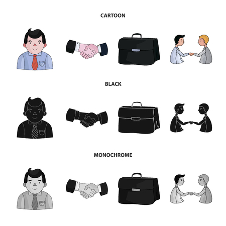 Businessman, handshake, portfolio, agreement.Business-conference and negotiations set collection icons in cartoon,black,monochrome style vector symbol stock illustration web.