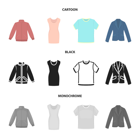 A mans jacket, a tunic, a T-shirt, a business suit. Clothes set collection icons in cartoon,black,monochrome style vector symbol stock illustration web.