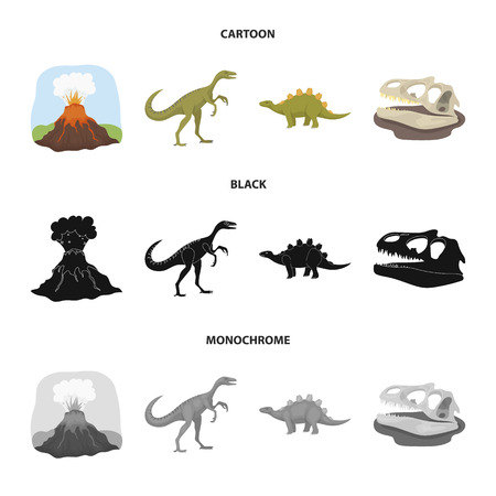 Volcanic eruption, gallimimus, stegosaurus,dinosaur skull. Dinosaur and prehistoric period set collection icons in cartoon,black,monochrome style vector symbol stock illustration web.