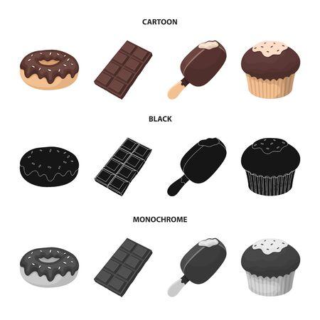 Donut with chocolate, zskimo, shokolpada tile, biscuit.Chocolate desserts set collection icons in cartoon,black,monochrome style vector symbol stock illustration web. Illustration