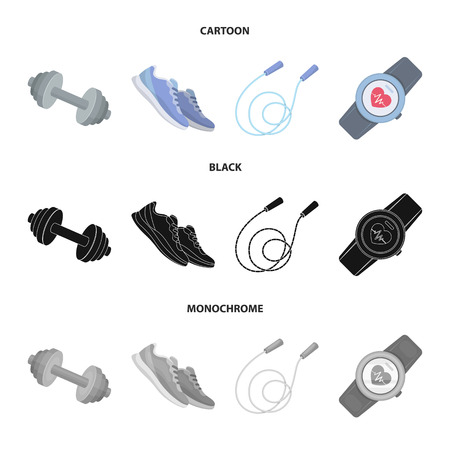 Dumbbell, rope and other equipment for training.Gym and workout set collection icons in cartoon,black,monochrome style vector symbol stock illustration web.
