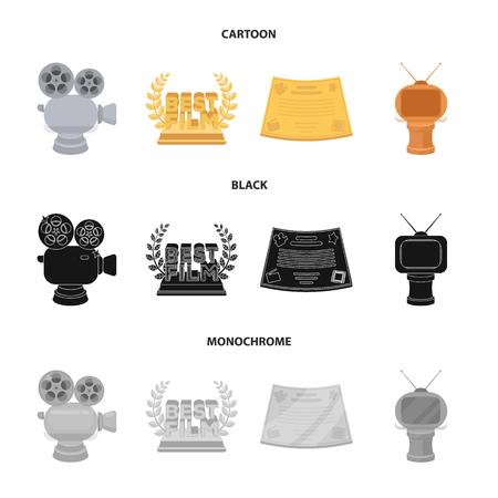 Zilveren camera. Een bronzen prijs in de vorm van een tv en andere soorten prijzen. Film award, set collectie pictogrammen in cartoon, zwart, zwart-wit stijl vector symbool stock illustratie web.