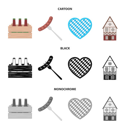 Box with beer, fried sausage, heart of the festival, bavarian cottage. Oktoberfest set collection icons in cartoon,black,monochrome style vector symbol stock illustration web.