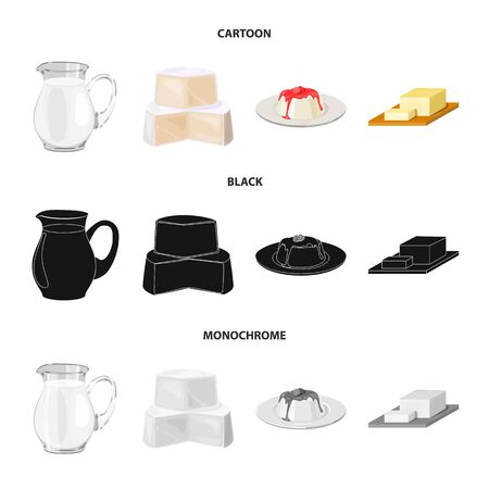 Milk, Calcium, Product, Food .Milk product and sweet set collection icons in cartoon,black,monochrome style vector symbol stock illustration .