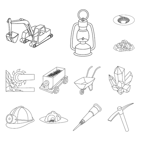 Mining industry outline icons in set collection for design. Equipment and tools vector symbol stock web illustration.