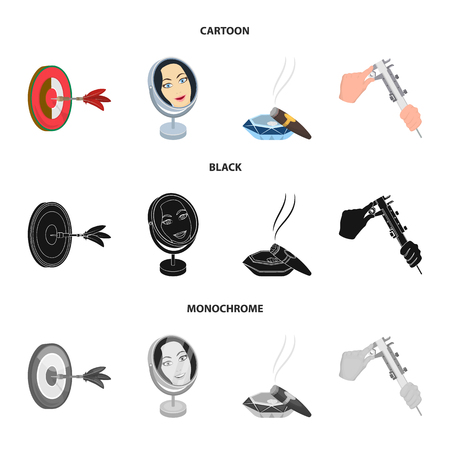 Game Darts, reflection in the mirror and other web icon in cartoon,black,monochrome style. Cigar , calipers icons in set collection.