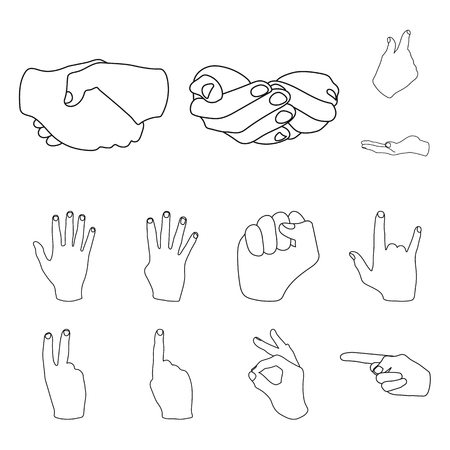 Hand gesture outline icons in set collection for design. Palm and finger vector symbol stock web illustration. Illustration