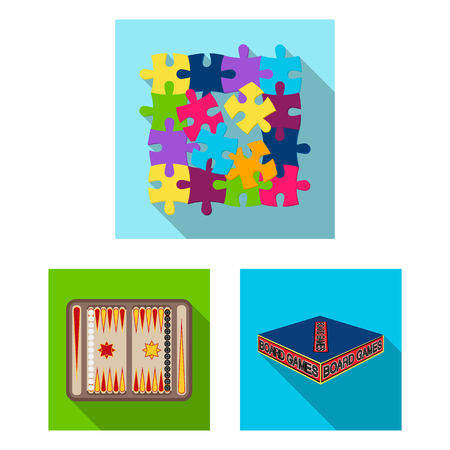 Board game flat icons in set collection for design. Game and entertainment vector symbol stock web illustration. Stock Vector - 98629575