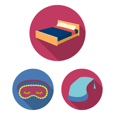 Rest and sleep flat icons in set collection for design. Accessories and comfort vector symbol stock  illustration.