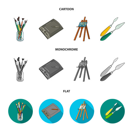 Bank with brushes, a drawing board, an easel with a canvas, paint knives.Artist and drawing set collection icons in cartoon,flat,monochrome style vector symbol stock illustration . Vectores