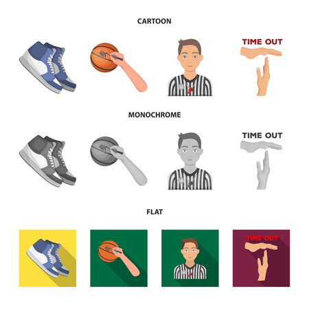 Basketball and attributes cartoon,flat,monochrome icons in set collection for design.Basketball player and equipment vector symbol stock  illustration.