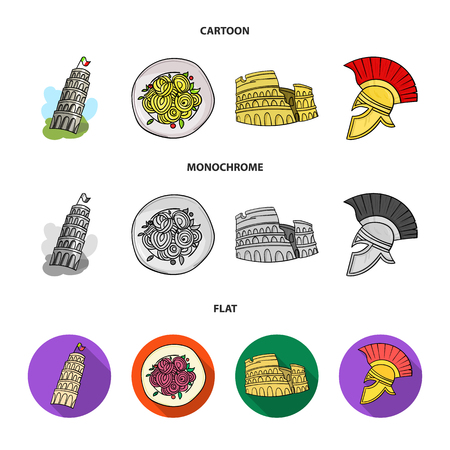Pisa tower, pasta, coliseum, Legionnaire helmet.Italy country set collection icons in cartoon,flat,monochrome style vector symbol stock illustration .