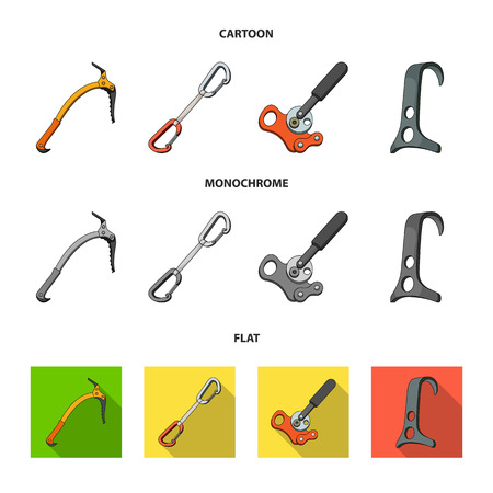 An ice ax, a carbine and other equipment.Mountaineering set collection icons in cartoon,flat,monochrome style vector symbol stock illustration web.
