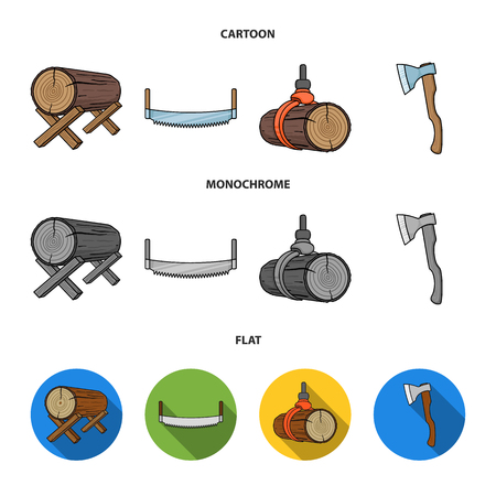 Log on supports, two-hand saw, ax, raising logs. Sawmill and timber set collection icons in cartoon,flat,monochrome style vector symbol stock illustration web.