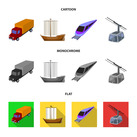 The truck, the boat, the subway, the funicular modes of transport. Transport set collection icons in cartoon,flat,monochrome style vector symbol stock illustration web. Illustration