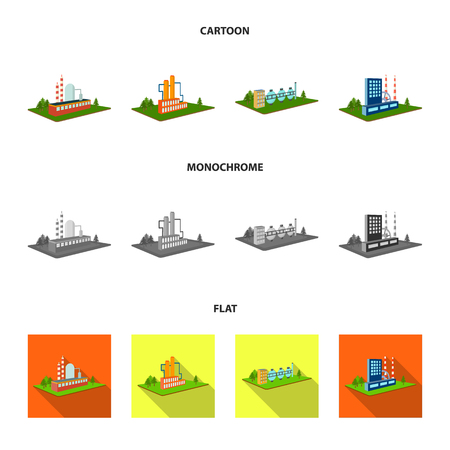 Processing factory,metallurgical plant. Factory and industry set collection icons in cartoon,flat,monochrome style isometric vector symbol stock illustration . Фото со стока - 98628073
