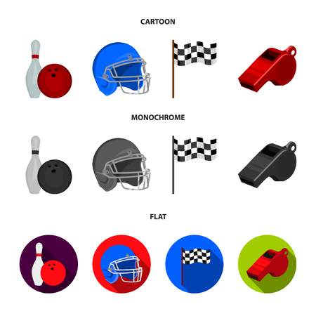 Bowl and bowling pin for bowling, protective helmet for playing baseball, checkbox, referee, whistle for coach or referee. Sport set collection icons in cartoon,flat,monochrome style vector symbol stock illustration web. Ilustrace