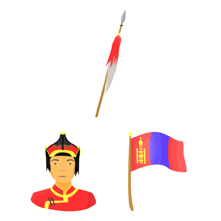 Country Mongolia cartoon icons in set collection for design. Territory and landmark vector symbol stock web illustration.