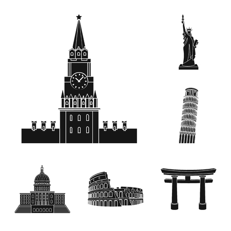 Sights of different countries black icons in set collection for design. Famous building vector symbol stock web illustration. Illustration