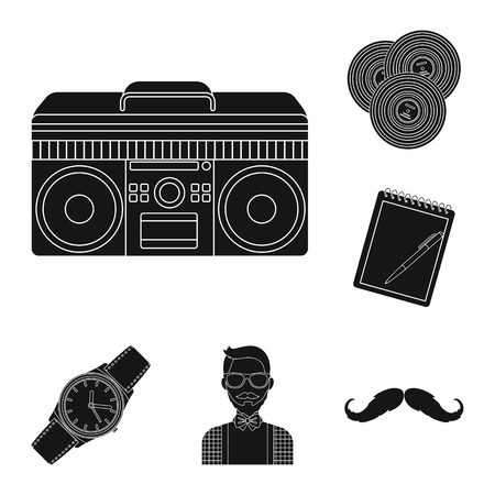 Style Hipster black icons in set collection for design. Hipster Attributes and accessories vector symbol stock web illustration.