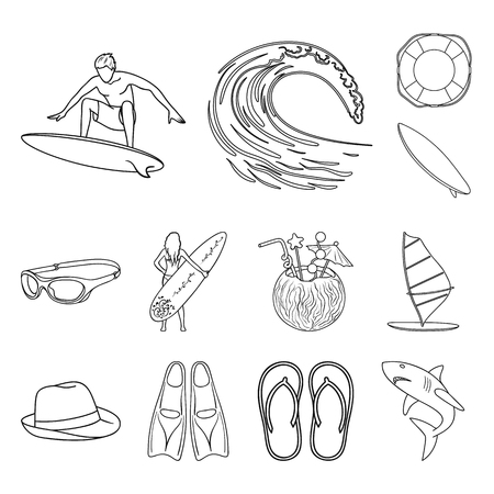 Surfing and extreme outline icons in set collection for design. Surfer and accessories vector symbol stock  illustration. Stock Illustratie