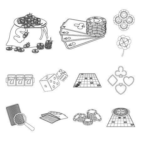 Casino and equipment outline icons in set collection for design. Gambling and money vector symbol stock  illustration. Vettoriali