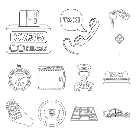 Taxi service outline icons in set collection for design. Taxi driver and transport vector symbol stock  illustration. Vettoriali