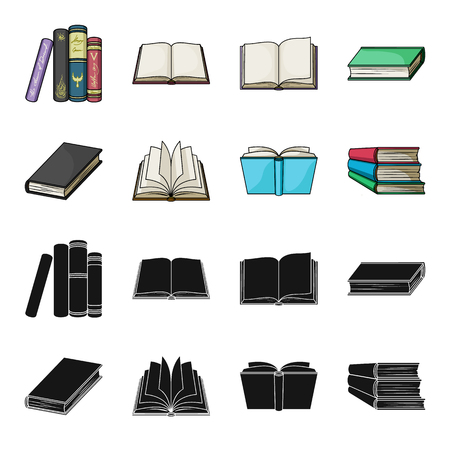 Various kinds of books. Books set collection icons in black, cartoon style vector symbol stock illustration