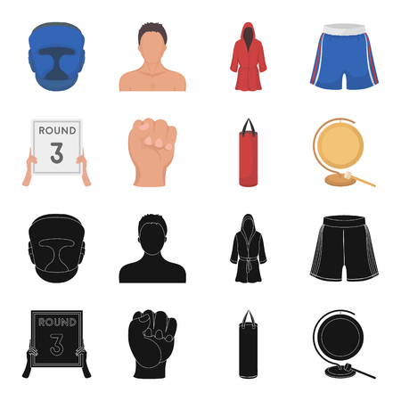 Boxing, sport, round, hand. Boxing set collection icons in black,cartoon style vector symbol stock illustration . Çizim