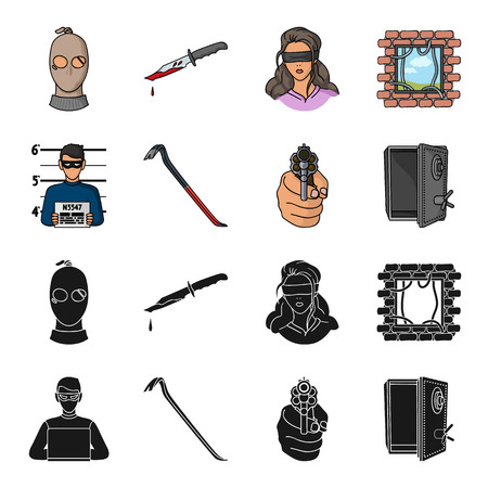 Photo of criminal, scrap, open safe, directional gun. Crime set collection icons in black, cartoon style vector symbol stock illustration