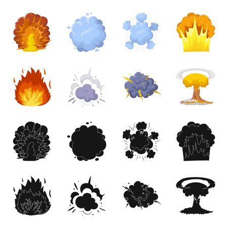 炎、火花、水素断片、原子またはガス爆発。黒、漫画スタイルのベクトルシンボルストックイラストで爆発セットコレクションアイコン  イラスト・ベクター素材