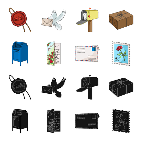 Mail and postman set collection icons