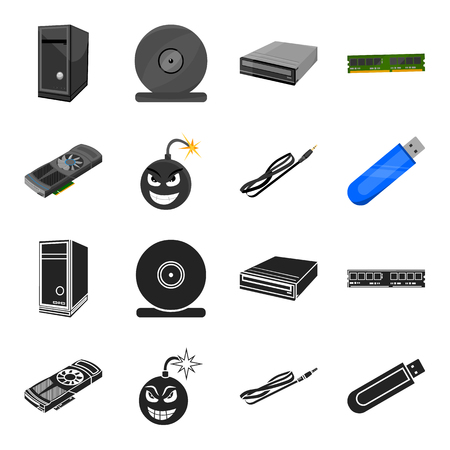 Personal computer set collection icons in black