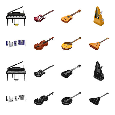 Musical instrument black,cartoon icons in set collection for design. String and Wind instrument isometric vector symbol stock  illustration.