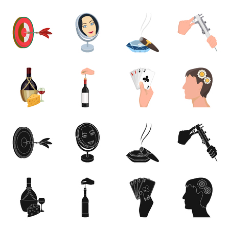 Bottle, a glass of wine and cheese, clogging with a corkscrew and other web icon in black,cartoon style. A combination of cards in hand, a person head and an idea generator icons in set collection.