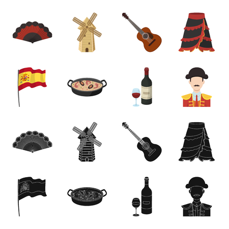 Spain country set collection icons in black and colored symbol stock illustration. Stock Illustratie