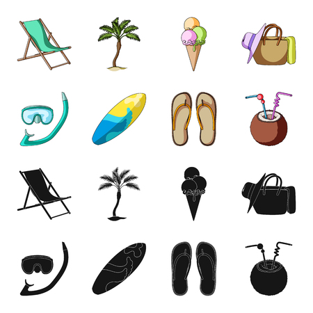 Summer vacation set collection icons in black and colored symbol stock illustration. Illustration