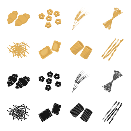 Different types of pasta. Types of pasta set collection icons in black,cartoon style vector symbol stock illustration web. Illustration