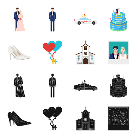 Wedding and Attributes black, cartoon icons in set collection for design. Newlyweds and Accessories vector symbol stock web illustration.