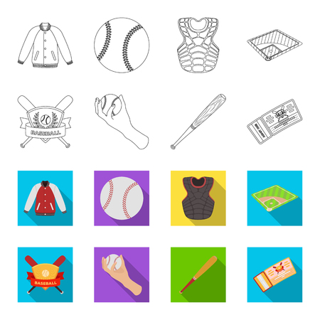 Club emblem, bat, ball in hand, ticket to match. Baseball set collection icons in outline,and colored style vector symbol stock illustration web. Illustration