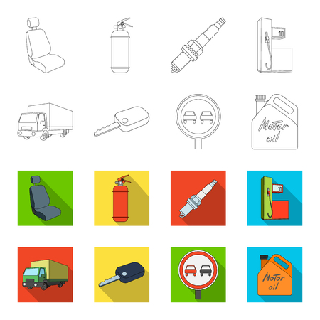 Camion con tenda da sole, chiave di accensione, segno proibitivo, olio motore in scatola metallica, icone di raccolta set veicolo in sagoma e web colorato illustrazione vettoriale stock simbolo di stile. Archivio Fotografico - 98767086
