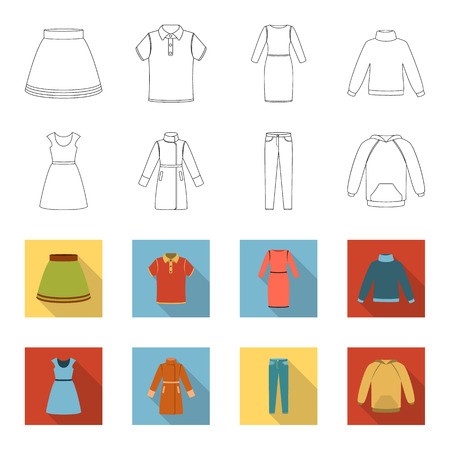 Clothing set collection icons in outline, and colored style vector symbol stock illustration web.