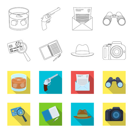 Detective set collection icons in outline, and colored style vector symbol stock illustration web.
