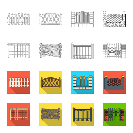 A fence of metal and bricks,wooden palisade. A different fence set collection icons in outline, and colored style vector symbol stock illustration web. Archivio Fotografico - 98767777