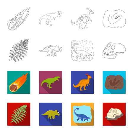 Sea dinosaur,triceratops, prehistoric plant, human skull. Dinosaur and prehistoric period set collection icons in outline, and colored style vector symbol stock illustration web.