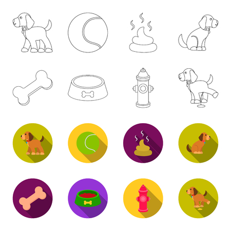 A bone, a fire hydrant, a bowl of food, a pissing dog. Dog set collection icons in outline, and colored style vector symbol stock illustration web.
